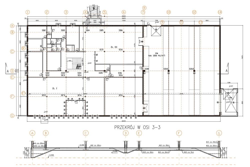Projekt hali magazynowo-biurowej - rys. 02-03