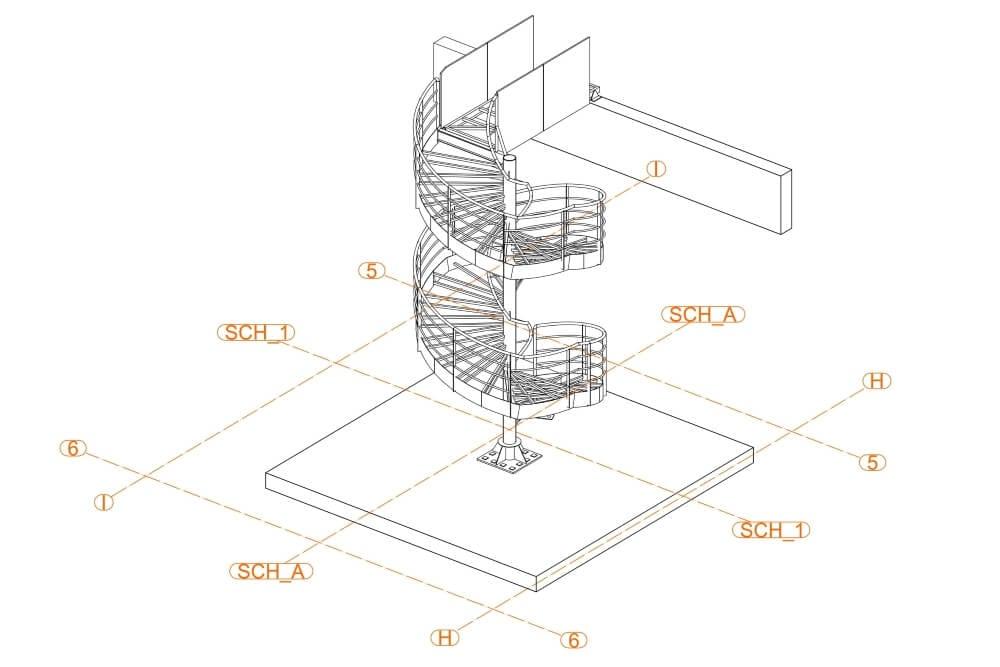 Projekt konstrukcji schodów spiralnych - rys. 01-03