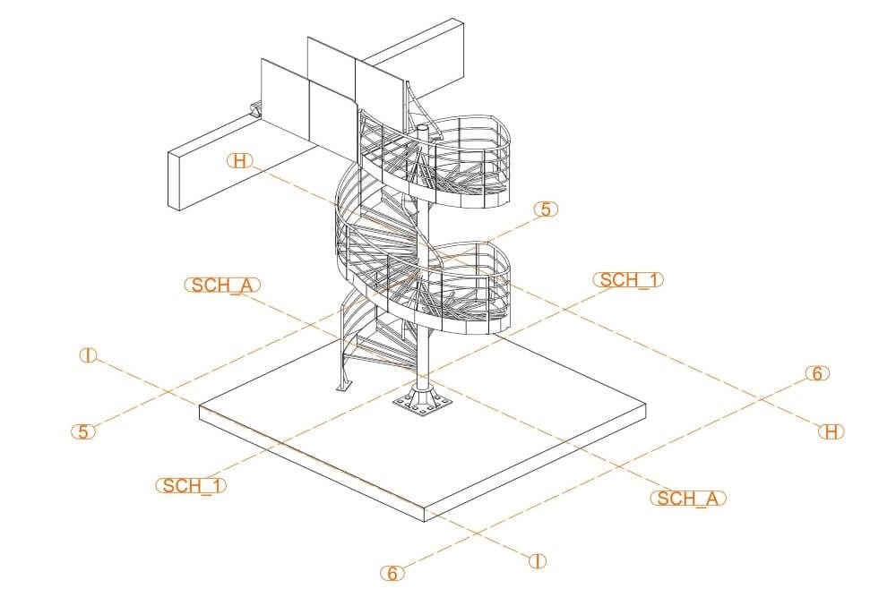 Projekt konstrukcji schodów spiralnych - rys. 02-03