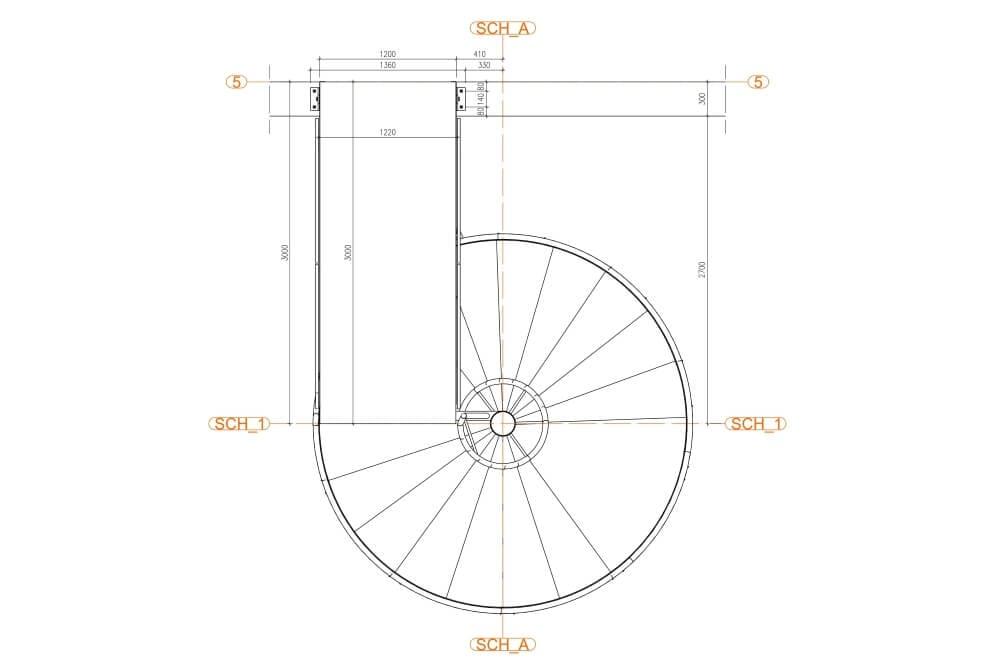 Projekt konstrukcji schodów spiralnych - rys. 03-03