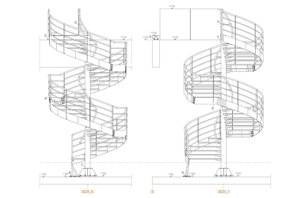 Projekt konstrukcji schodów spiralnych - rys. 04-03