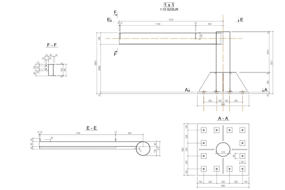 Projekt konstrukcji schodów spiralnych - rys. 05-03