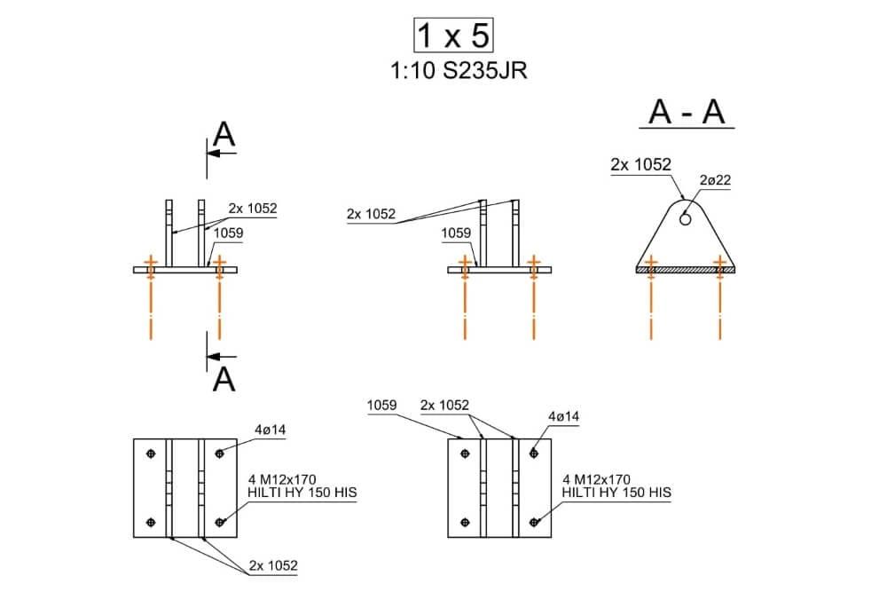 Projekt konstrukcji schodów spiralnych - rys. 06-03