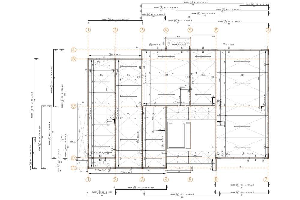Projekt konstrukcyjny budynku wielorodzinnego - rys. 01-03