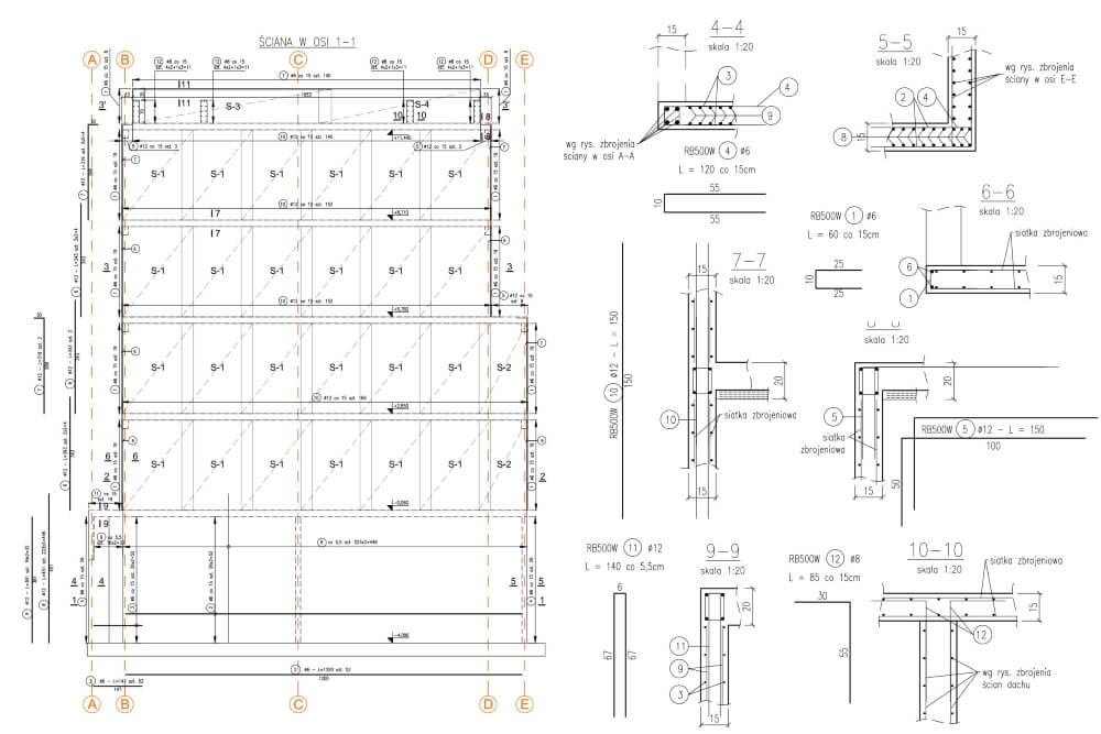 Projekt konstrukcyjny budynku wielorodzinnego - rys. 02-03