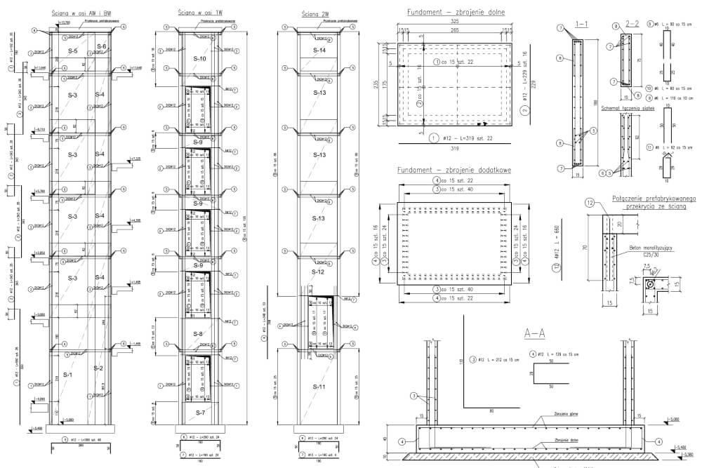 Projekt konstrukcyjny budynku wielorodzinnego - rys. 03-03