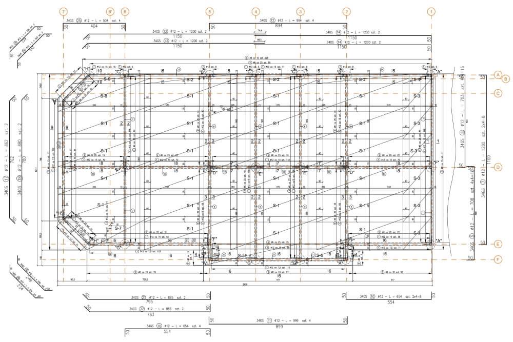 Projekt konstrukcyjny osiedla budynków - rys. 01-03