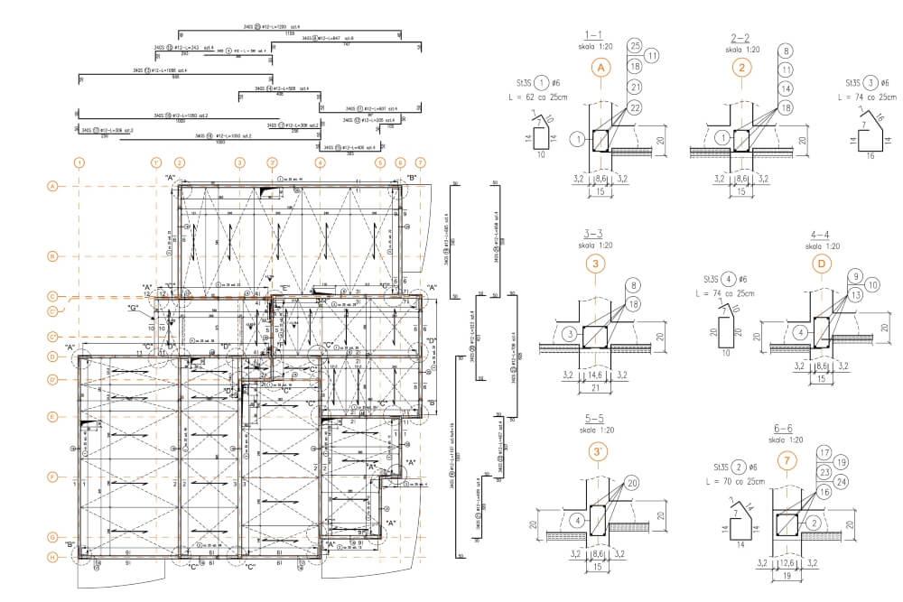 Projekt konstrukcyjny osiedla budynków - rys. 02-03