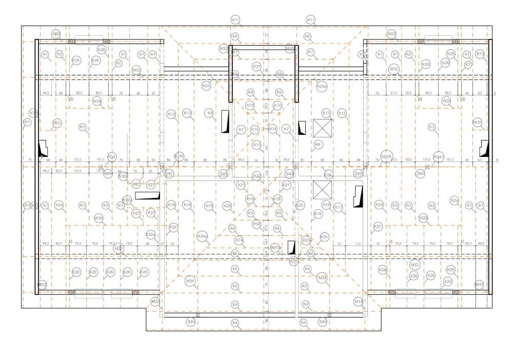 Projekt konstrukcyjny osiedla budynków - rys. 03-03
