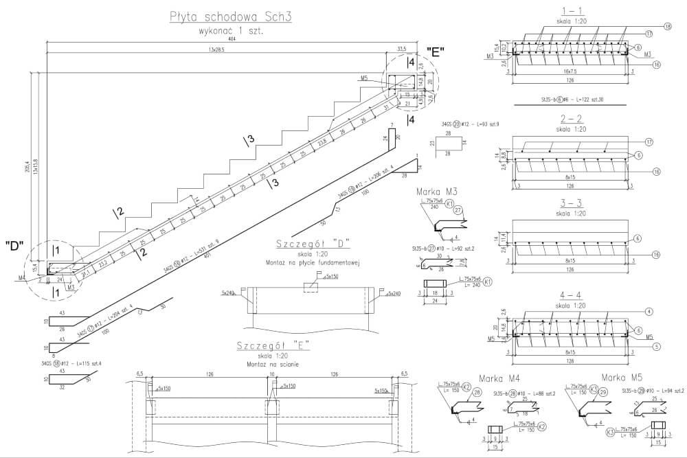 Projekt konstrukcyjny osiedla budynków - rys. 04-03
