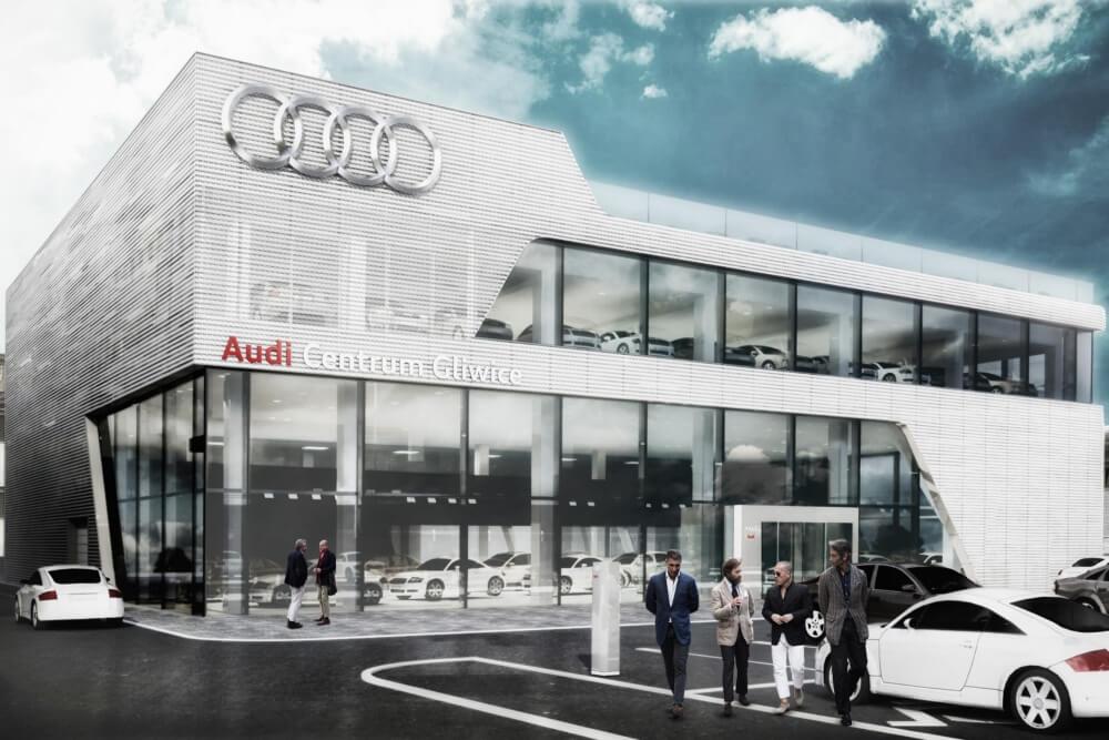 Projekt konstrukcyjny salonu samochodowego AUDI - wiz. 02-03