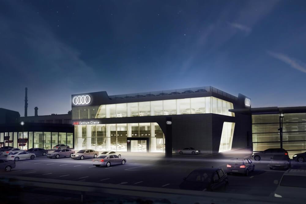 Projekt konstrukcyjny salonu samochodowego AUDI - wiz. 03-03