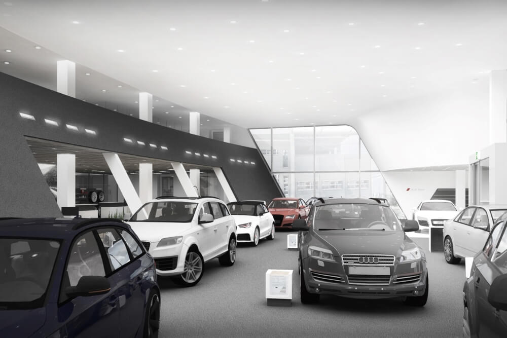 Projekt konstrukcyjny salonu samochodowego AUDI - wiz. 04-03