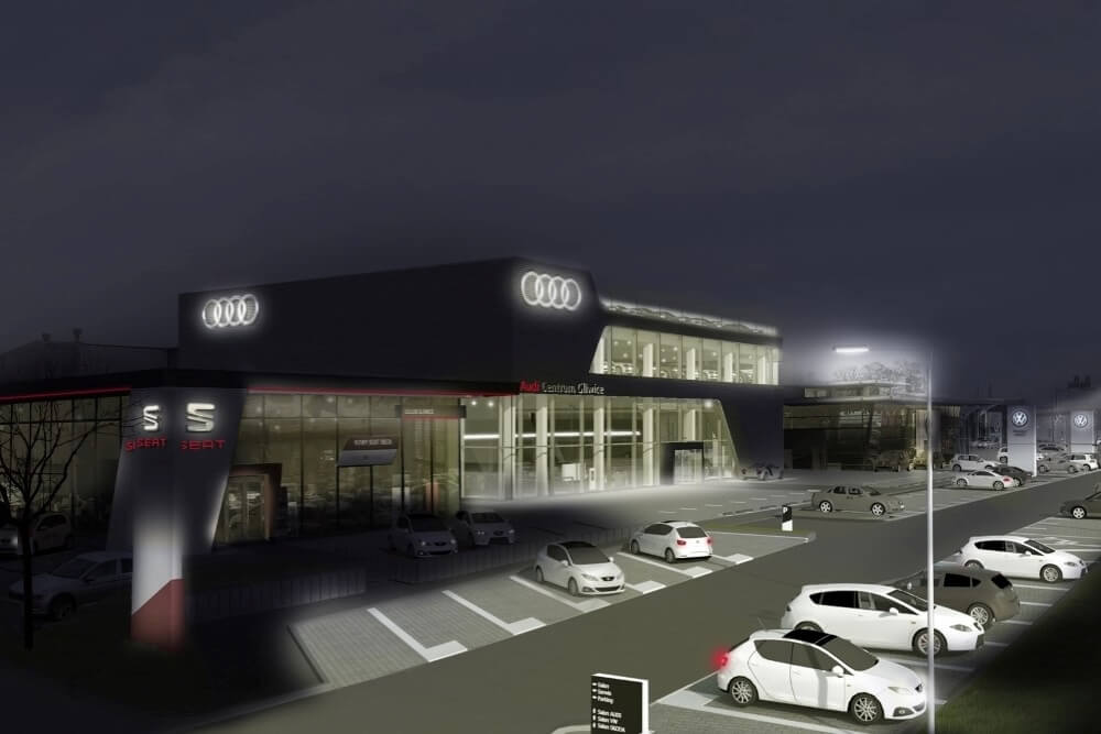 Projekt konstrukcyjny salonu samochodowego AUDI - wiz. 08-03