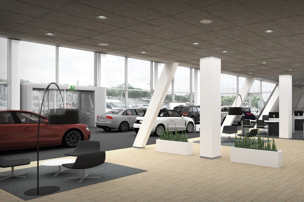 Projekt konstrukcyjny salonu samochodowego AUDI - wiz. 10-03
