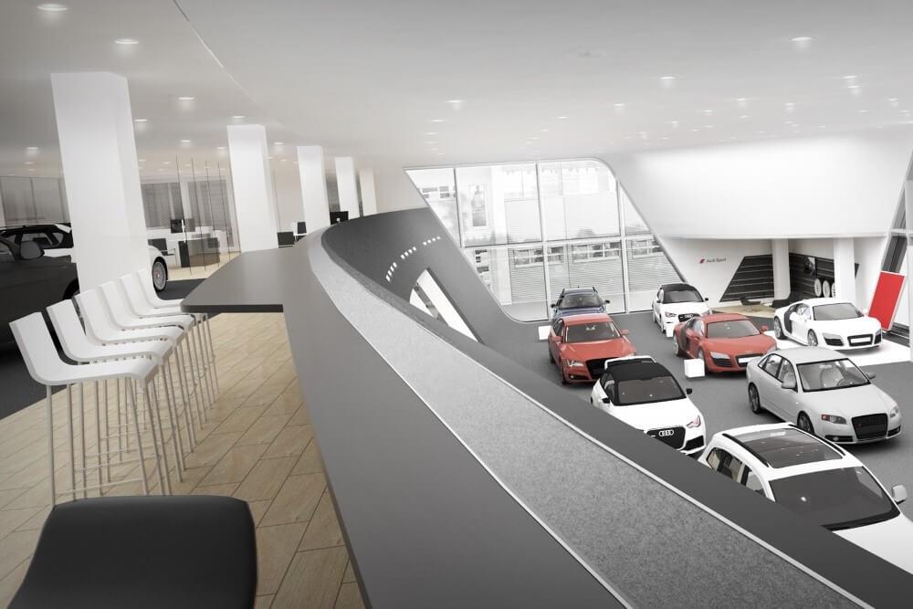 Projekt konstrukcyjny salonu samochodowego AUDI - wiz. 11-03