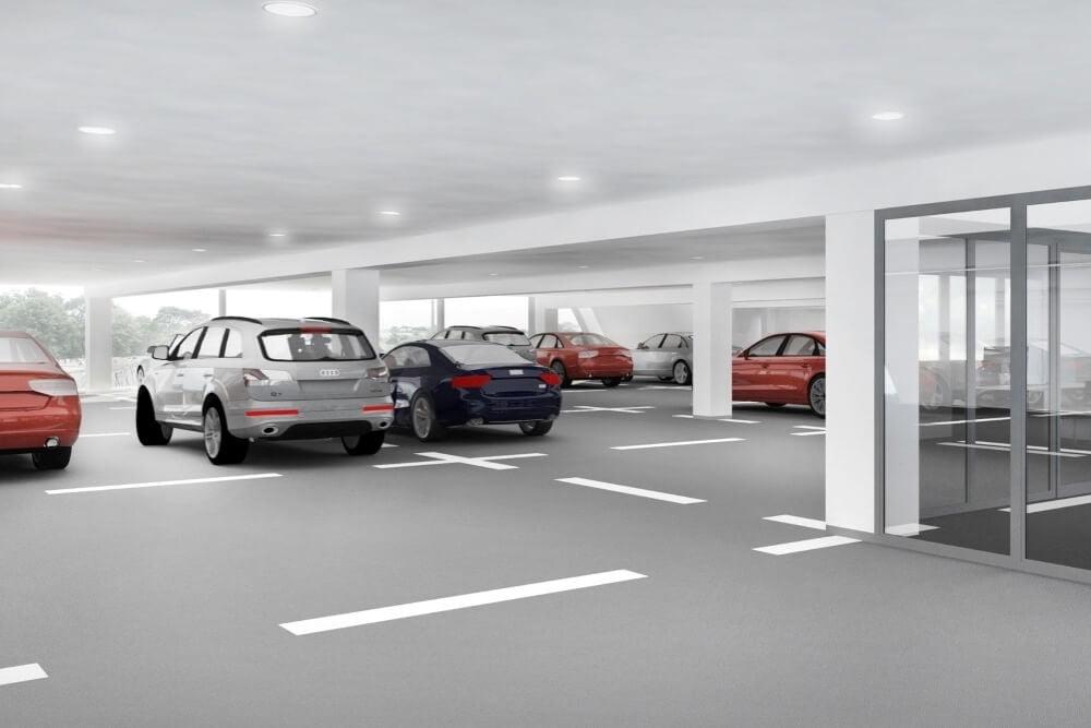 Projekt konstrukcyjny salonu samochodowego AUDI - wiz. 12-03