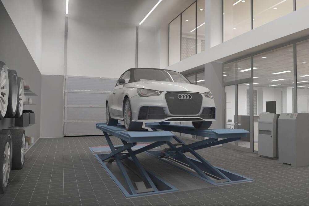 Projekt konstrukcyjny salonu samochodowego AUDI - wiz. 13-03