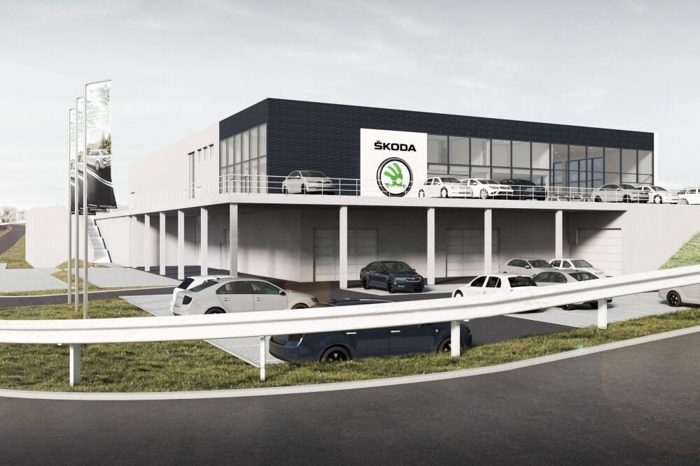 Projekt konstrukcyjny salonu samochodowego ŠKODA - wiz. 01-03