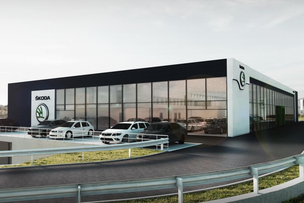 Projekt konstrukcyjny salonu samochodowego ŠKODA - wiz. 02-03