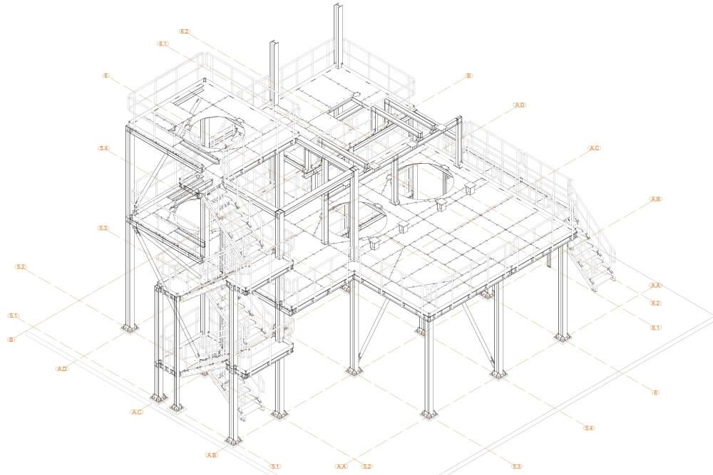Projekt podestu stalowego zakładu chemicznego - rys. 01-03