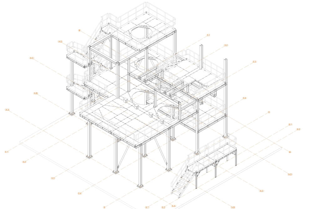 Projekt podestu stalowego zakładu chemicznego - rys. 02-03