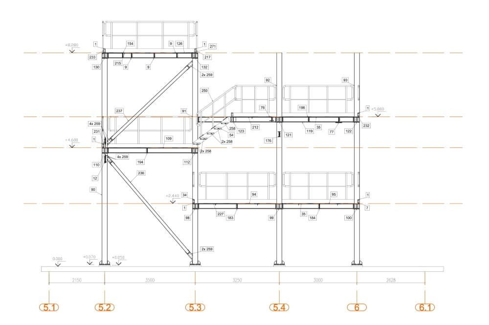 Projekt podestu stalowego zakładu chemicznego - rys. 04-03