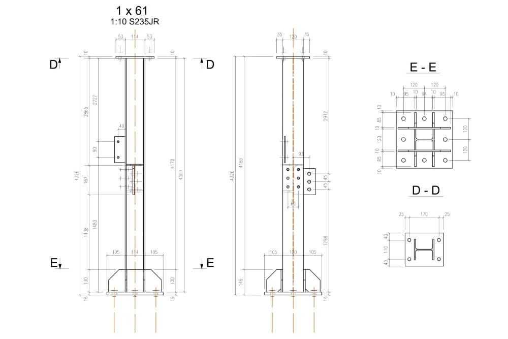 Projekt podestu stalowego zakładu chemicznego - rys. 05-03