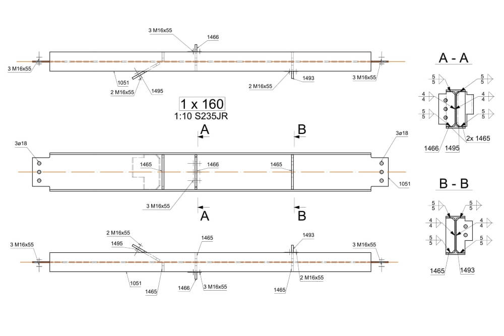 Projekt podestu stalowego zakładu chemicznego - rys. 06-03