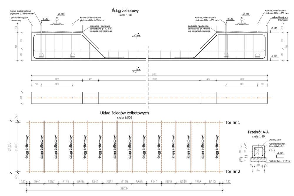 Projekt podtorza itorowiska suwnicy bramowej - rys. 01-03