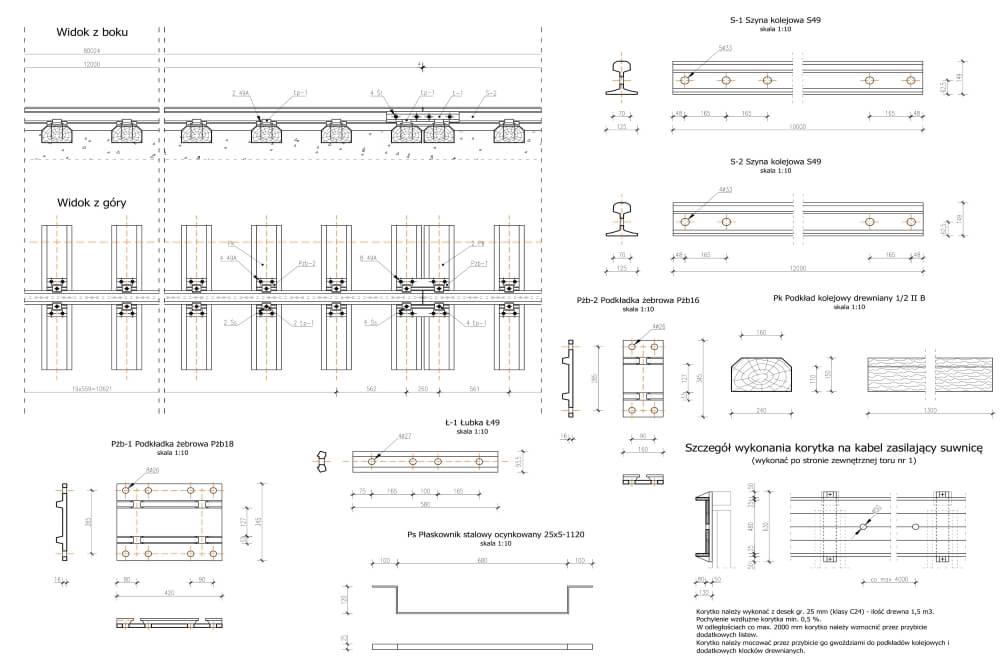 Projekt podtorza i torowiska suwnicy bramowej - rys. 03-03