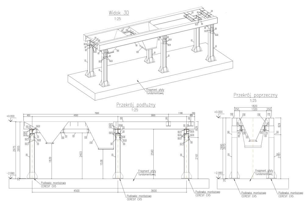 Projekt przebudowy konstrukcji elektrociepłowni - rys. 03-03