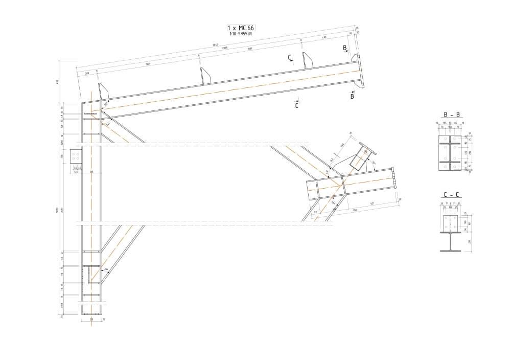 Projekt sali gimnastycznej - rys. 03-03