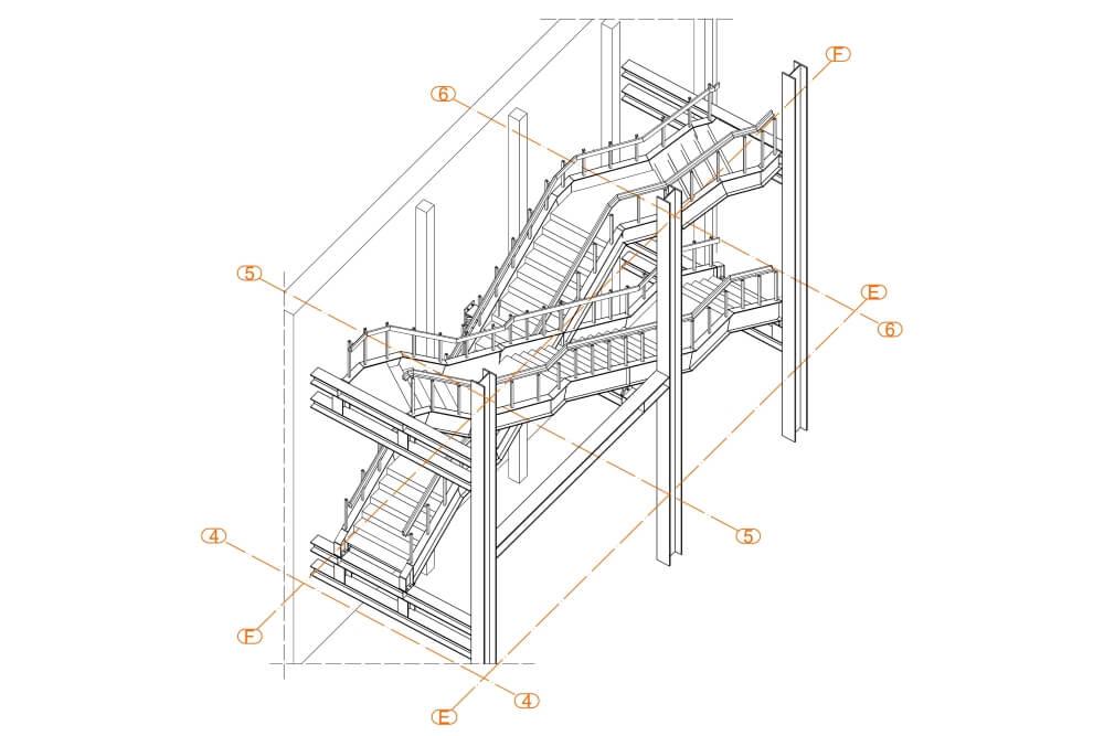 Projekt schodów i balustrad kina - rys. 01-01