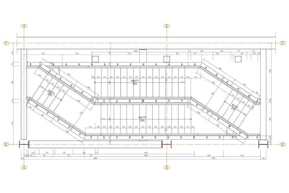 Projekt schodów i balustrad kina - rys. 02-01