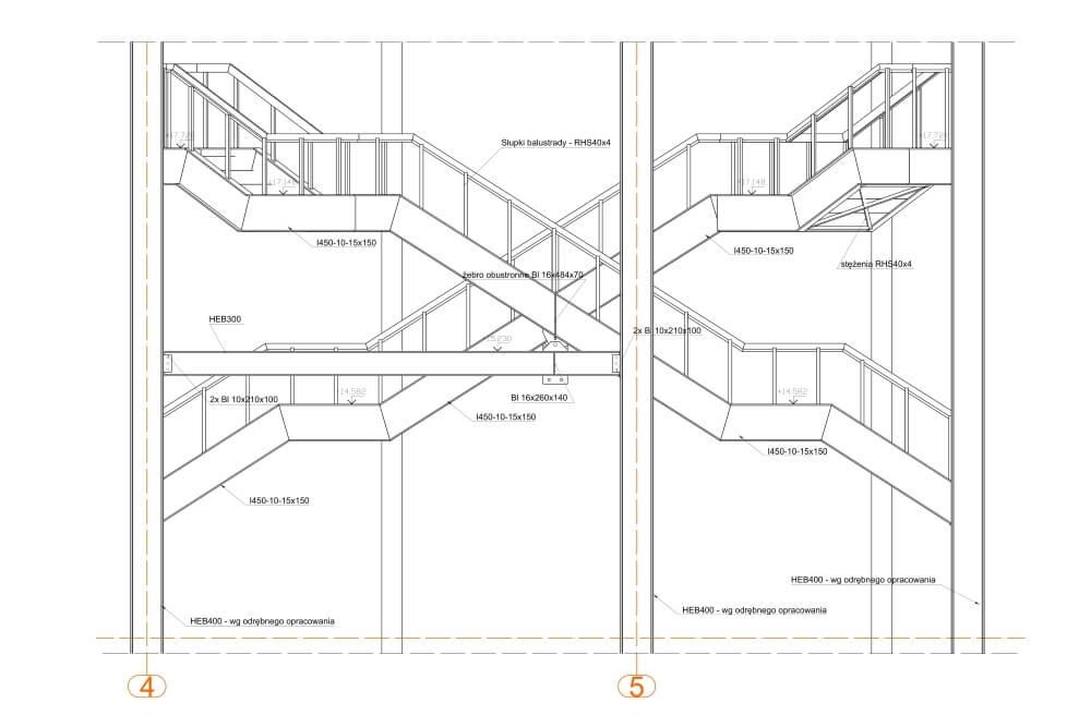 Projekt schodów i balustrad kina - rys. 03-01