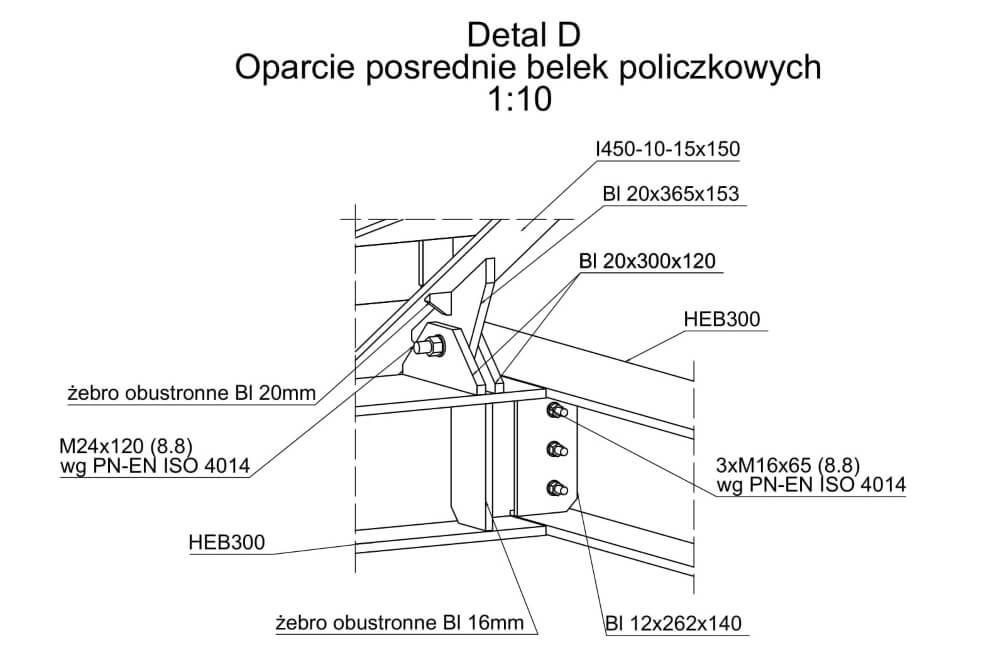 Projekt schodów i balustrad kina - rys. 04-01