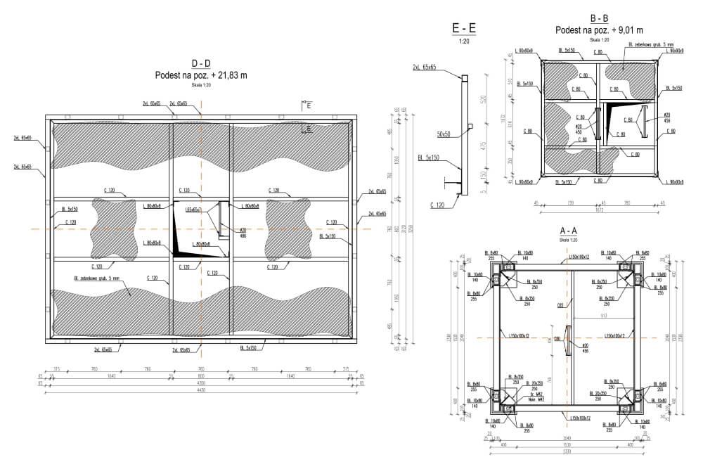 Projekt wieży oświetleniowej - rys. 01-03
