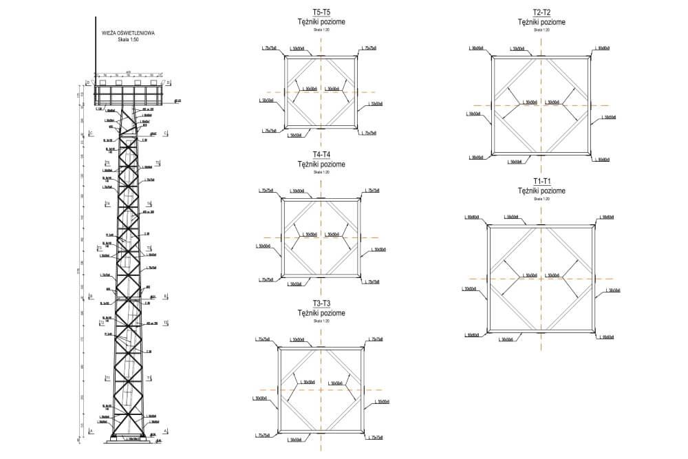 Projekt wieży oświetleniowej - rys. 02-03