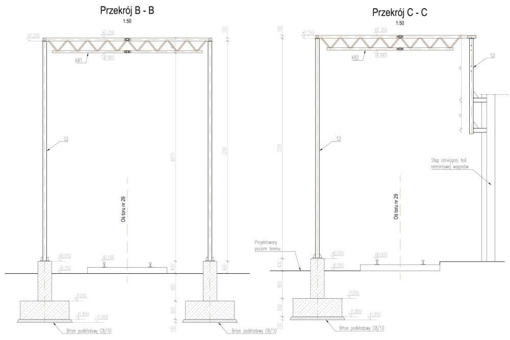 Projekt zabezpieczenia przed upadkiem z wagonów - rys. 02-03