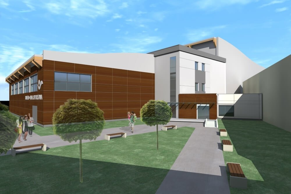 Konstruktionsprojekt der Schwimmbad und Sporthalle - Vis. 02-03