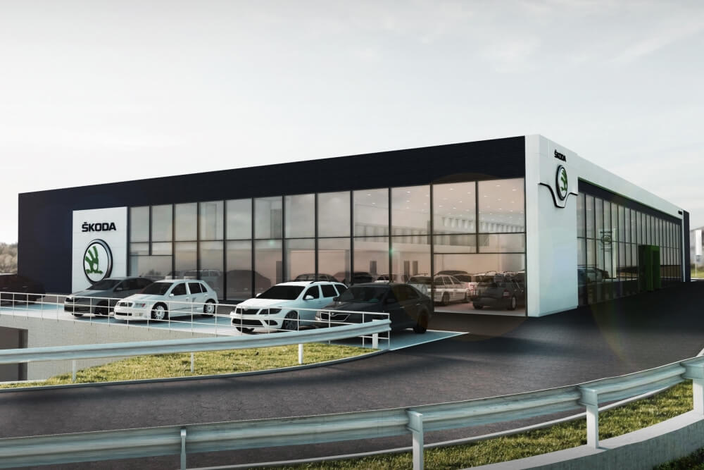 Konstruktionsprojekt des Autohauses - Vis. 02-03