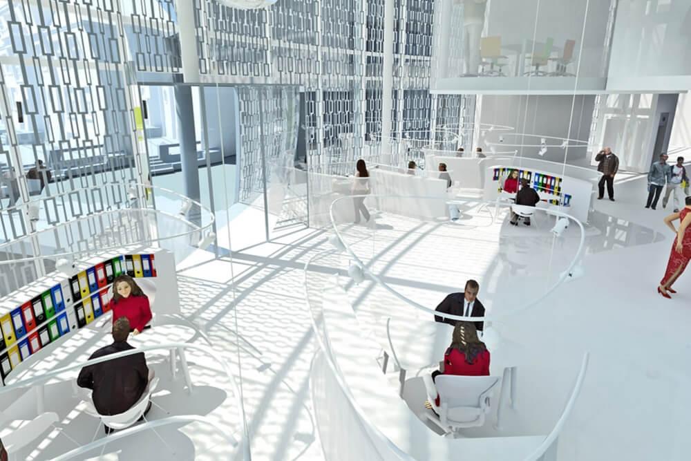 Konstruktionsprojekt des Bürokomplexes - Vis. 02-03