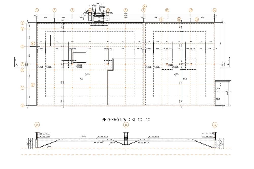 Projekt der Lager- und Bürohalle - Zchng. 01-03