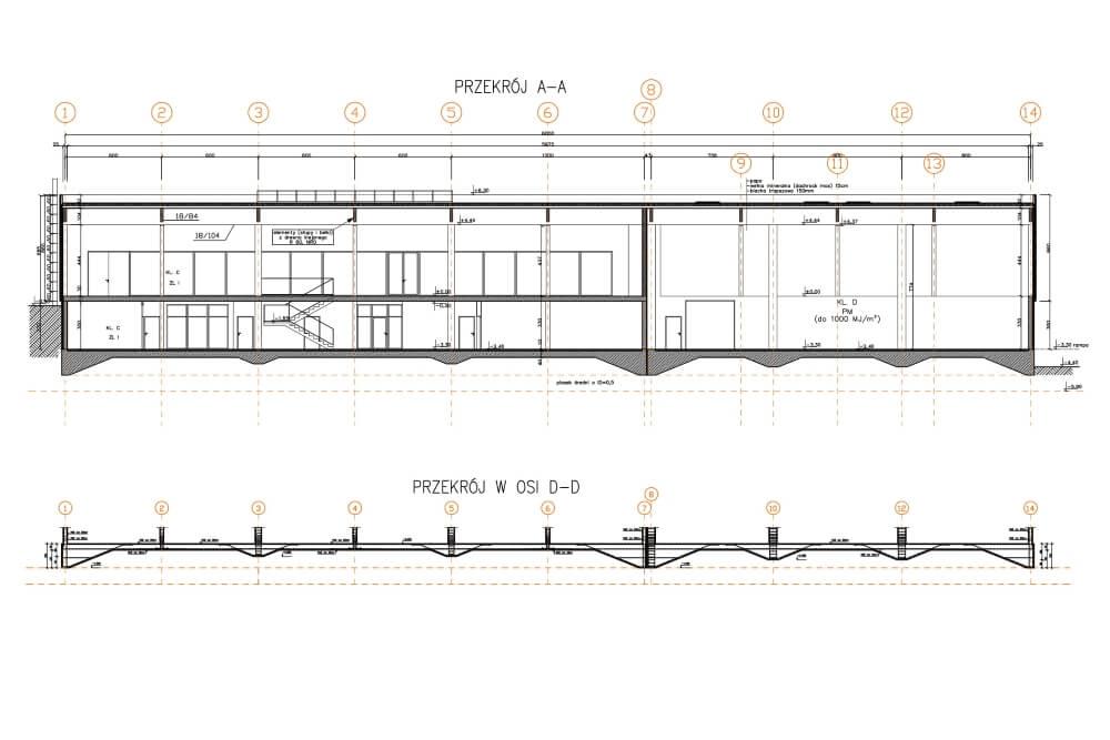 Projekt der Lager- und Bürohalle - Zchng. 03-03