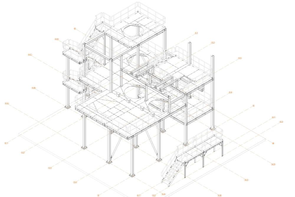 Projekt der Stahlplattform für Chemiewerk - Zchng. 02-03