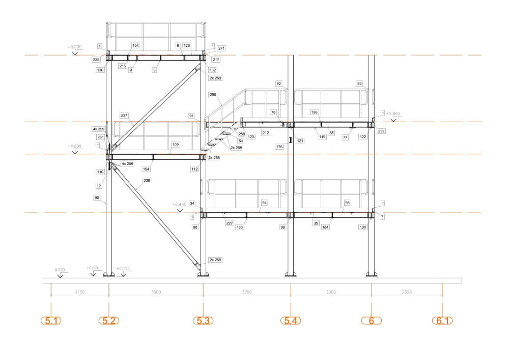Projekt der Stahlplattform für Chemiewerk - Zchng. 04-03