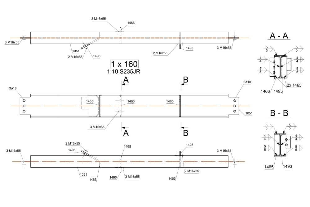 Projekt der Stahlplattform für Chemiewerk - Zchng. 06-03