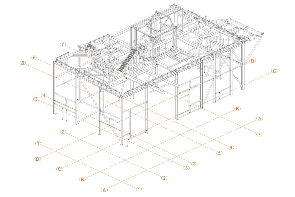 Projekt der Unterkonstruktion des Glutentrockners - Zchng. 01-03