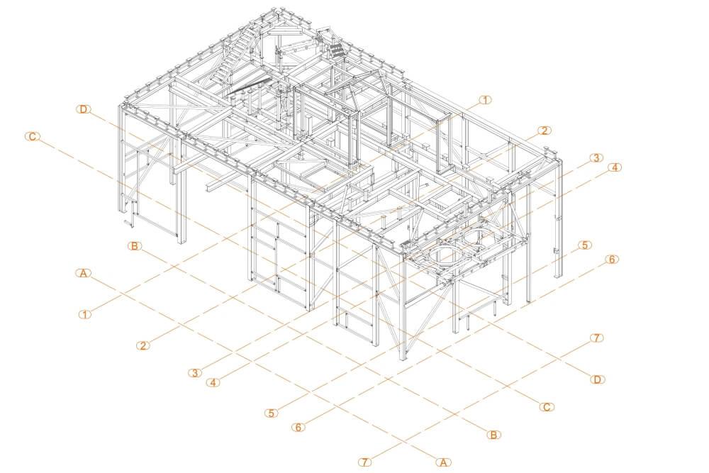 Projekt der Unterkonstruktion des Glutentrockners - Zchng. 02-03